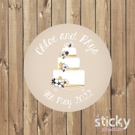 Personalised Wedding Favour Stickers - Wedding Cake Design